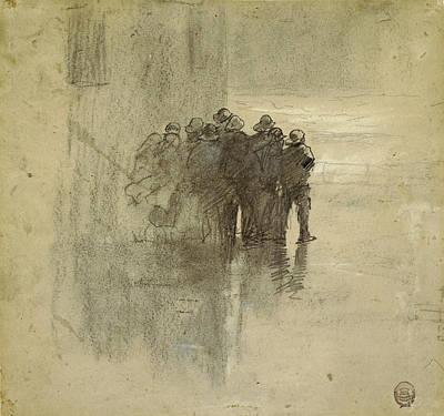 Winslow Homer Drawing - Fishermen In Oilskins, Cullercoats, England, 1881 by Winslow Homer
