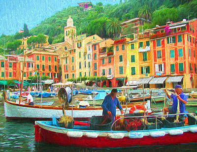 Portofino Italy Painting - Fishermen In Portofino by Mitchell R Grosky
