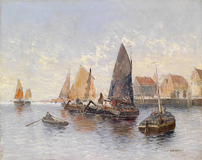 Georg Fischhof Painting - Fishermen In The Harbor by Georg Fischhof