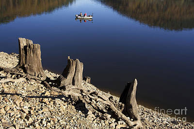 Small Boat Photograph - Fishermen. Lake Of  Auvergne. France by Bernard Jaubert