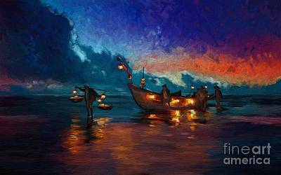 Painting - Fishermen Night Fishing by Tim Gilliland