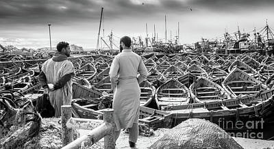 Photograph - Fishermen Of Essaouira Marrakesh Bw by Rene Triay Photography