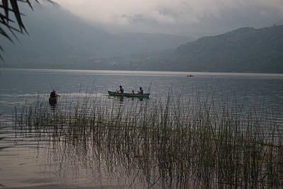 Abstract Graphics - Fishermen on Lake Atitlan by Douglas Barnett