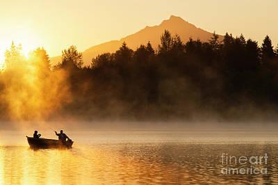 Photograph - Fishermen On Lake Cassidy At Sunrise by Jim Corwin