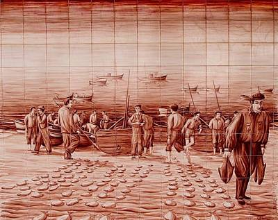 Photograph - Fishermen On Portuguese Tiles by Dora Hathazi Mendes