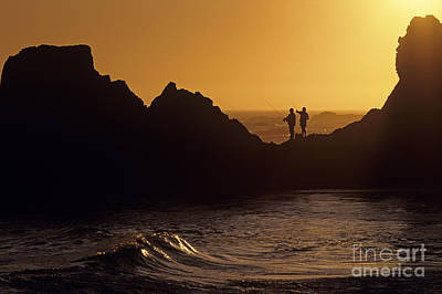 Photograph - Fishermen On Rocks by Jim Corwin