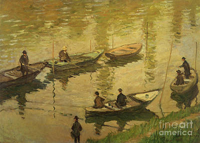 French Signs Painting - Fishermen On Seine by Claude Monet