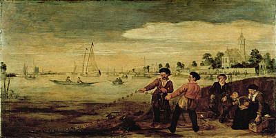 Painting - Fishermen On The Bank Of The Amstel Near The Pauwentuin by Arent Arentsz