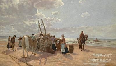 Dresden Wall Art - Painting - Fishermen On The Beach by Hermann Baisch