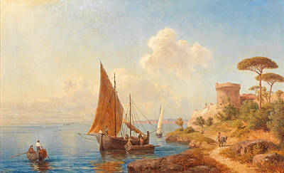 Painting - Fishermen On The Dalmatian Coast by Gottfried Seelos