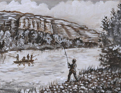 Painting - Fishermen On The North Platte Historical Vignette by Dawn Senior-Trask