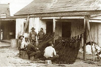 Photograph - Fishermen Repairing Nets Santa Cruz Circa 1907 by California Views Mr Pat Hathaway Archives