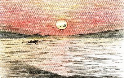 Drawing - Fishermen's Glory by Teresa White