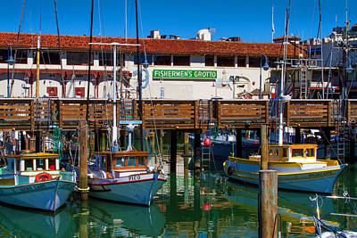 Photograph - Fishermens Grotto With Wharf Boats by Bonnie Follett