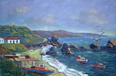 Flying Seagull Painting - Fishermen's Rocks by Carlton Murrell