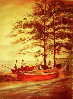 Fishermens Sunset Art Print by Estela Robles