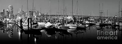 Photograph - False Creek Panorama At Dusk Monochrome by Terry Elniski