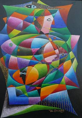 Fishes And Faces  Art Print by Val Stokes