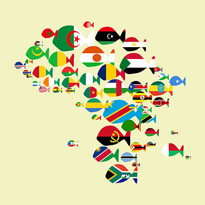 Digital Art - Fishes Map Of Africa by Keshava Shukla