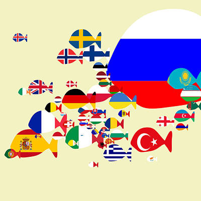 Digital Art - Fishes Map Of Europe by Keshava Shukla