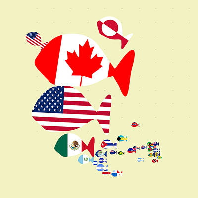 Digital Art - Fishes Map Of North America by Keshava Shukla