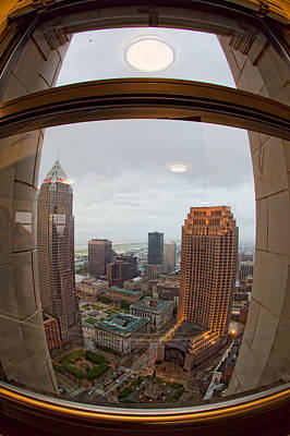 Fisheye View Of Cleveland From Terminal Tower Observation Deck Art Print by Kathleen Nelson