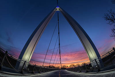 Fisheye View Of Modern Ped Bridge At Dawn In Chicago Art Print