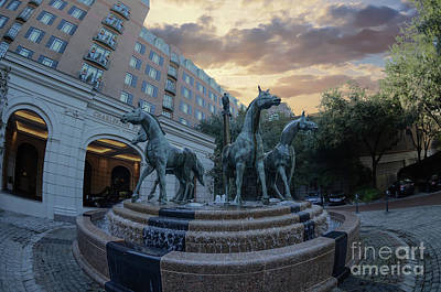 Photograph - Fisheye View Of The Quadriga Horse Fountain by Dale Powell