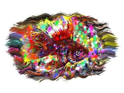Digital Art - Fishie Vignette by Iowan Stone-Flowers