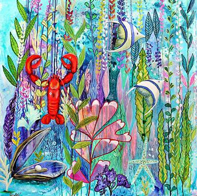 Wall Art - Painting - Fishies Under The Sea by Carol Iyer