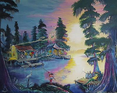 Cypress Swamp Mixed Media - Fishin In Fantasyland by Nicolas Avet