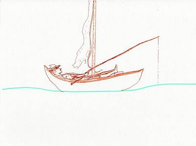 Drawing - Fishin My Life Away by Jim Taylor