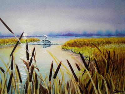 Fishin' Reeds Art Print by Bill Brown
