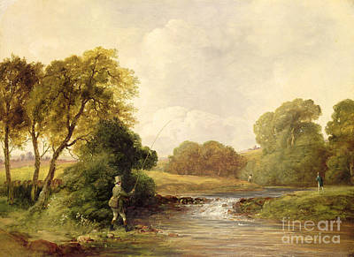 Anglers Painting - Fishing - Playing A Fish by William E Jones