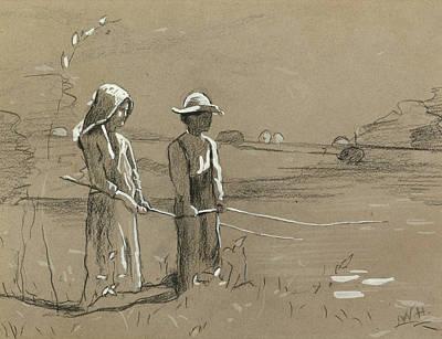 Winslow Homer Drawing - Fishing 2 by Winslow Homer