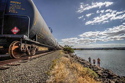 Fishing Along The Train Tracks Art Print by Brad Stinson
