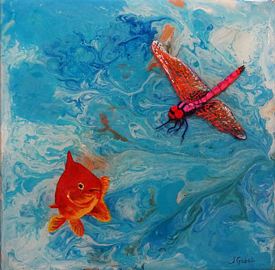 Wall Art - Painting - Fishing Around by Laura Gabel
