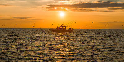 Photograph - Fishing As The Sun Goes Down - Panoramic by Mark Robert Rogers