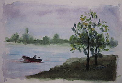 Painting - Fishing At Calavaras Lake by Monique Montney