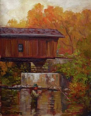 Covered Bridge Painting - Fishing At Creek Road Bridge by Nora Sallows