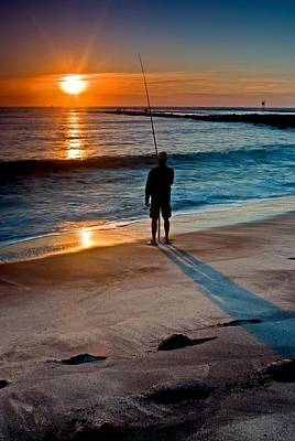 Fishing At Dawn On The Indian River Inlet Art Print