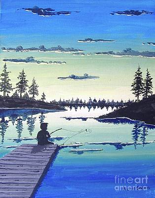 Painting - Fishing At Dusk by Norm Starks