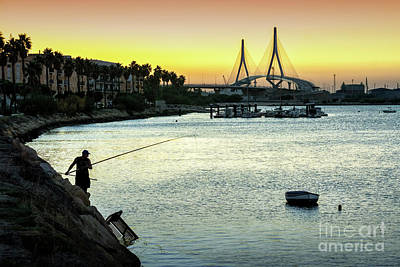 Photograph - Fishing At Dusk Rio San Pedro Puerto Real Spain by Pablo Avanzini