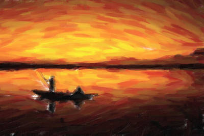Painting - Fishing At Golden Hours by Adam Asar