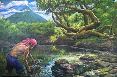 Mayon Volcano Painting - Fishing At Lagoon by Manuel Cadag