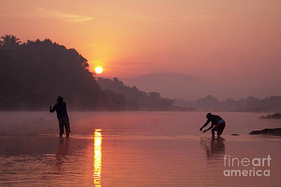 Photograph - Fishing At Sunrise by Hitendra SINKAR