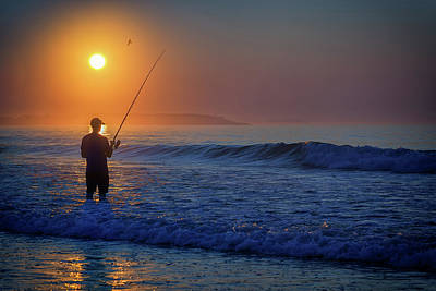 Photograph - Fishing At Sunrise by Rick Berk