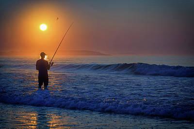 Photograph - Fishing At Sunrise by Rick Berk