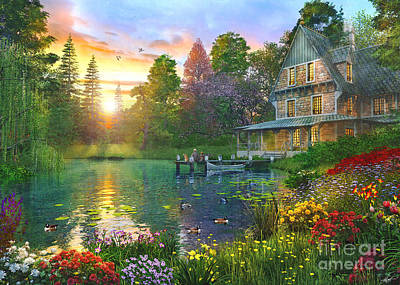 Fishing At Sunset Art Print
