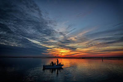 Fishing At Sunset Print by Rick Berk